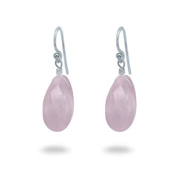 Fronay Co - Natural Rose Quartz Earrings Sterling Silver - Handmade Jewelry for Women