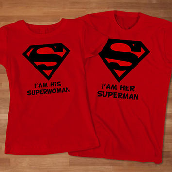 Superman Superwoman Couples T-Shirt, Superhero Couples T-shirt, Custom Couples T-Shirt, Awesome Couple T-Shirt, Cute Couple T-Shirt