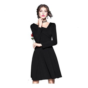 Black V-neck Long Sleeves Taffeta Knee Length Evening Dresses Simple Prom A-line Ruched Party Formal Dress