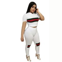 2 Piece Set Women Workout Clothes 2018 White Striped Patchwork Stretch High Waist Long Pants Mamelucos Skinny Rompers Jumpsuit