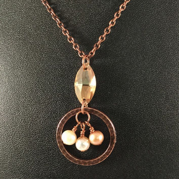 Pearl charm necklace, copper circle necklace, crystal, pearl drop pendant, gift for her, under 20