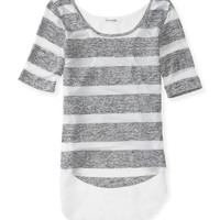 Aeropostale Womens Sheer Striped Chiffon-Back Top