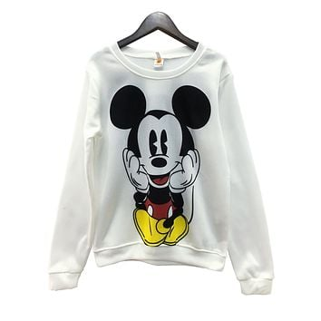 Sudaderas Mujer 2017 LongSleeve Pullover Mickey O-neck Character Printed Red White Kawaii Style hoodies sweatshirt for women's