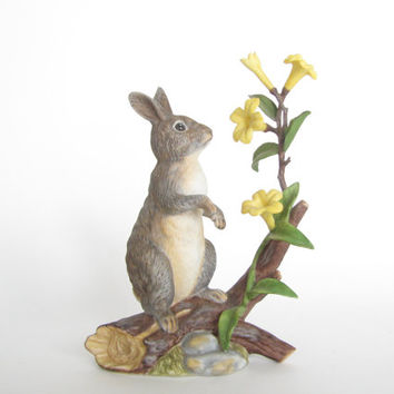Vintage Lenox Rabbit - Daybreak Discovery - Eastern Cottontail Rabbit - Woodland Animals Collection - 1992