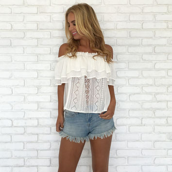 Somebody To Lean On Off Shoulder Ivory Top
