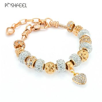 Poshfeel 2017 Fashion Women Gold Bracelet Crystal Heart Charm Bracelets & Bangles Diy Jewelry Female Pulsera Mbr170207