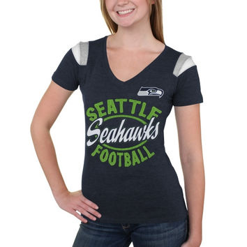 Seattle Seahawks 5th & Ocean by New Era Women's Tri-Blend V-Neck T-Shirt - College Blue