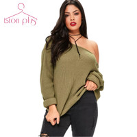 Sexy Oversized Sweater Women 7XL 6XL 5XL 2017 Spring Army Green Slash Neck Long Sleeve Loose Style Sweaters Plus Size Clothes