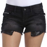 WallFlower Juniors Peek-A-Boo Denim Shorts
