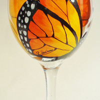 Hand Painted Butterfly Wine Glasses by Wine Me by WineMe on Etsy