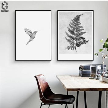 Nordic Canvas Posters and Prints Wall art Leaf Painting Black & White Little Bird Wall Pictures for Home Decoration, Wall Decor