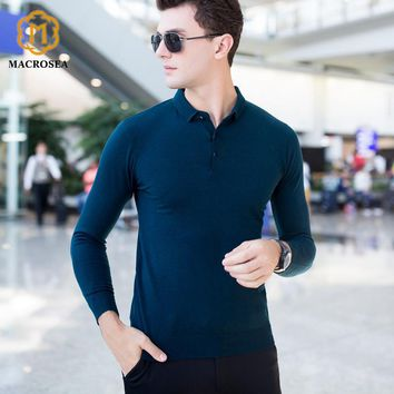MACROSE Men's Social 100% Wool Sweaters High-end Merino Wool Men's Clothes Male's Formal Business Casual Pullover