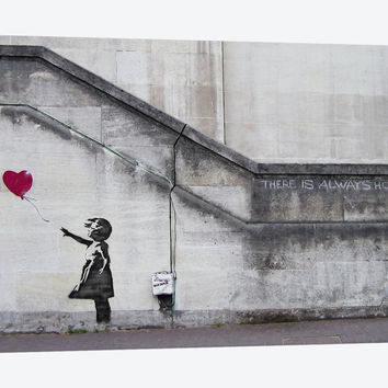 """There Is Always Hope Balloon Girl by Banksy Canvas Print 40"""" L x 26"""" H x 0.75"""" D"""
