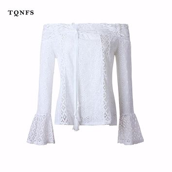TQNFS Off Shoulder Floral Lace White Blouse Women Top Hollow Out flare Sleeve Ladies Blouse Shirt Women Sexy Chemise Blusas