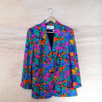 Floral Blazer Hippie Vintage NEW Jacket Bright Flower Print Coat Neon Colors Womens Vintage Boho Festival 70s 80s Made in USA