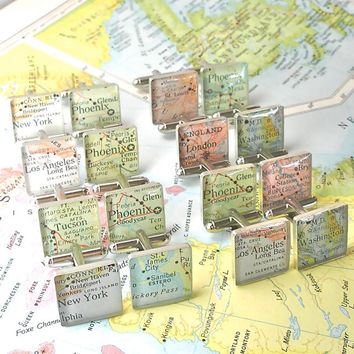 Wedding Cufflinks, Gifts for Groomsmen, Will You be my Groomsman Map Sterling Silver Square Cufflinks.  Set of 8 FREE SHIPPING