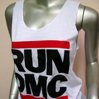 RUN DMC T-shirt Women Tank Tops Pop Rock Singer Idol vintage Music Punk heavy metal Hip Hop White I03 Sz.M