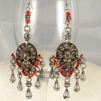 Antique Yemen Silver and Coral Earrings Makers Mark Signed | craftsofthepast - Antiques on ArtFire