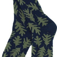 Habitat Leaves Crew Socks Navy/Army 1 Pair