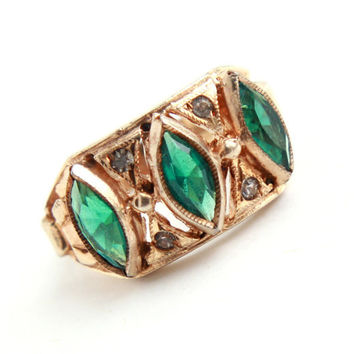 Vintage Emerald Green Sterling Ring -  Mid Century Gold Wash Uncas Size 5 Jewelry / Cigar Band