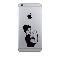 Girl Power Velvet Stickers - We Can Do It iPhone 6 Decals - Feminist Art iPhone 6 Plus Stickers - Rosie The Riveter Galaxy s5 - Strong Woman