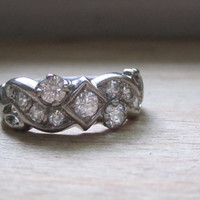 Vintage Old Cut Diamond Ring Anniversary Band Wedding Band Right Hand Ring 14k White Gold