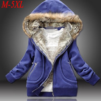 Four Color 2016 New Winter Women Plus Sizes Fur Collar Hooded Sweatshirt Women Thickening Windproof Jacket Free shipping M-5XL