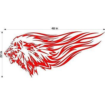 Lion Safari Animal Flames Motor Cross Street Track Motorcycle Racing Trailer Decals Stickers Mural One Color 2 Graphics AF14