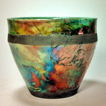 Raku Flower Pot Planter Green Copper Vase Tropical Gardening Rustic Housewarming Gift Ceramic Clay Pottery.