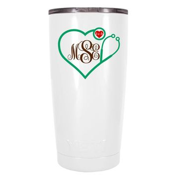 YETI 20 oz Nurse Heart Shaped Green Stethoscope Monogram on White Tumbler