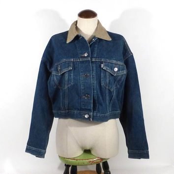 Levis Denim Jacket Vintage 1990s Jean Women's size M Medium Cropped 900 series