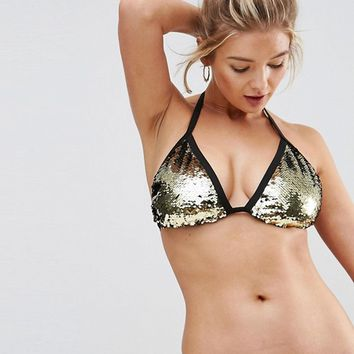 ASOS FULLER BUST Mix and Match Two Tone Sequin Embellished Triangle Bikini Top DD-F at asos.com