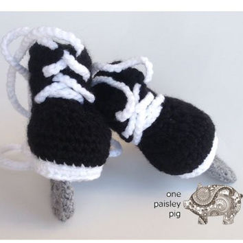 Ice Skate Baby Booties (Hockey & Figure Skates) - PDF CROCHET PATTERN