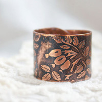 Copper Briar ring - Dog-rose ring - Eglantine ring - Canker-rose ring - Etched flower ring -  Forest Elven Ring