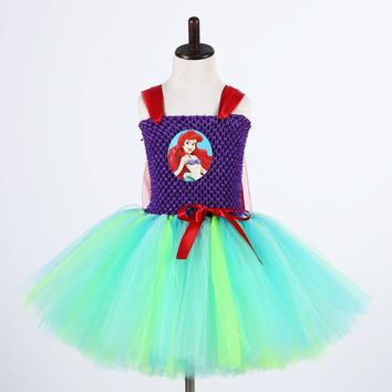 Cute Cartoon Girls Tulle Dress Green Birthday Party Tutu Dress Girl Princess Dress Kids Mermai Ariel Tinkerbell Cosplay Costume