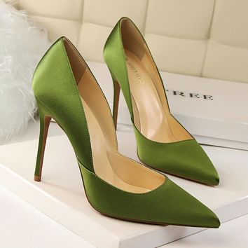 New Spring Women Elegant Satin Pumps European Fashion High Heeled Shoes Shallow Thin H