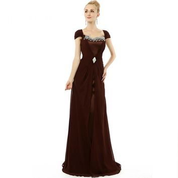 Long Mother Of The Bride Dresses Sheath Beads Cap Sleeves Zipper Party Dress
