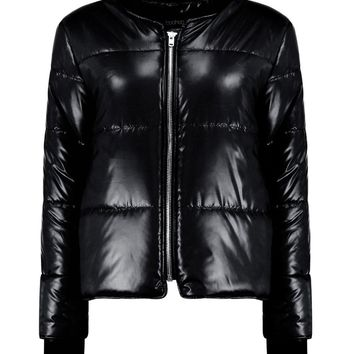 Isabella Wet Look Bomber Jacket | Boohoo