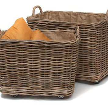 Rolling Storage Bins, Set of 2, Storage Baskets