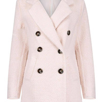 Light Pink Double Breasted Wool Coat