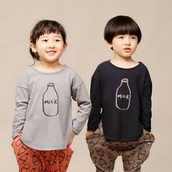 Free shipping spring autumn children clothing baby girl boy kids t shirt girls boys shirts t-shirt milk Korean Casual Fashion