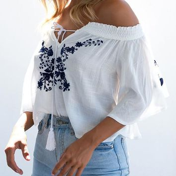White Flowers Embroidery Tassel Boat Neck Fashion T-Shirt