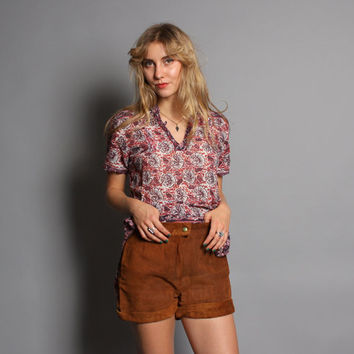 60s - 70s LEATHER SHORTS / Cuffed Brown Suede High Waist Hot Pants, s