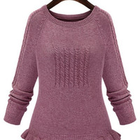 Knitted Ribbed Cuff Flounced Sweater