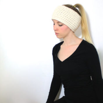 "The ""Iowa"" Crochet Winter Ear Warmer - Cream Tan - Custom Requests Accepted"