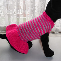 """small xxs hand knit dog sweater / dress,10.5"""" chichuhua, puppy, teacup sweater xs dog clothes, dog sweater, dog coat, knitted xs dog clothes"""
