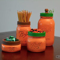 Pumpkin Mason Jar Set, Fall Decor, Halloween Decor, Set of Four Mason Jars, Mason Jar Set, Halloween Mason Jar, Fall Mason Jar Set