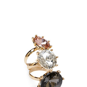 FOREVER 21 Faux Gem Ring Set Grey/Peach