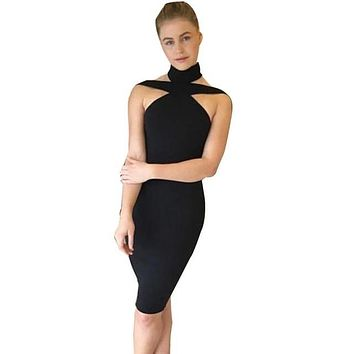 Women Ladies Evening Party Dress Sexy Bandage Sleeveless Sexy Halter Pencil Sheath Bodycon Dress vestidos Black White