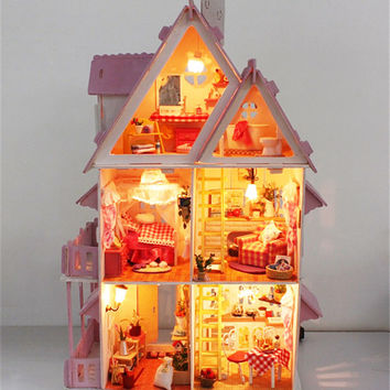 DIY Model Sunshine Alice Doll House Free Shipping Assemble Villa Doll Home/Wood Children Mini Wooden Toy Miniature Dollhouse
